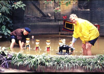 2001 Hanoi - John Setting up Water puppets with Master - Ho Chi Minh's friend - Bluyonda